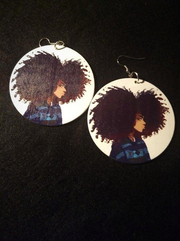 African American wood Earrings -I love my Hair
