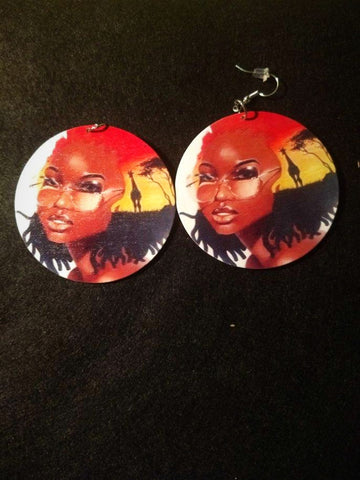 African American wood Earrings - Queen KIWI