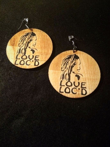African American Engraved wood Earrings - I love my Loc'd hair