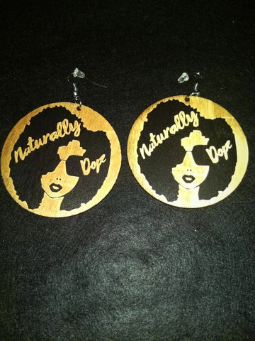 African American Engraved wood Earrings - Naturally Dope