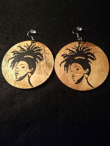 African American Engraved wood Earrings - Pony Locks