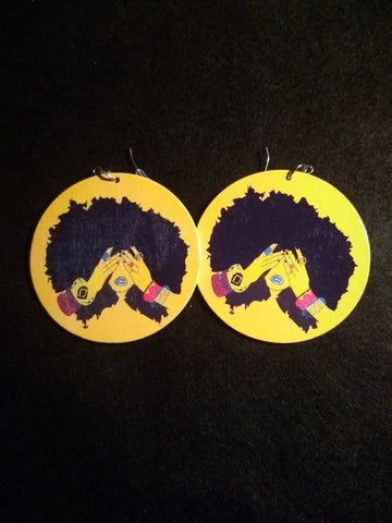 African American wood Earrings - I Am A Queen