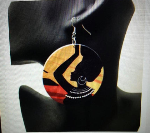 African American wood Earrings -  Colorful Pot