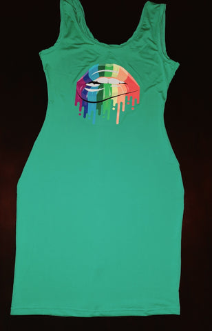 Sexy summer bodycon dress with rainbow lips design
