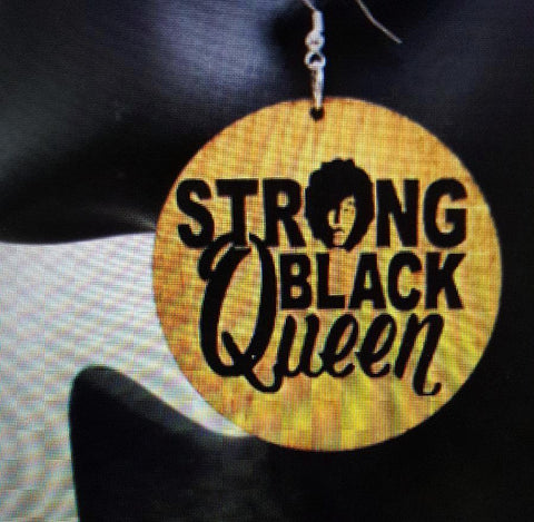 African American Engraved wood Earrings - Strong Black Queen