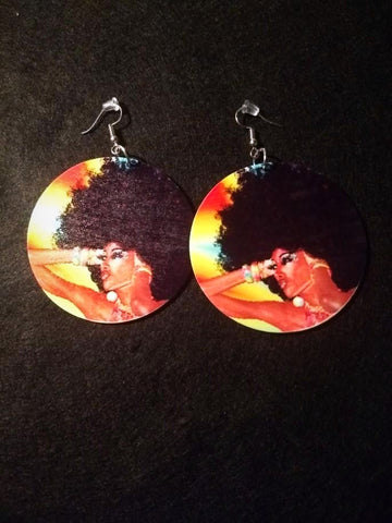 African American wood Earrings - Queen of the Sunset