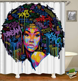 Bundle Colorful Afrocentric Queen shower curtain, Bath Mat, and Canvas
