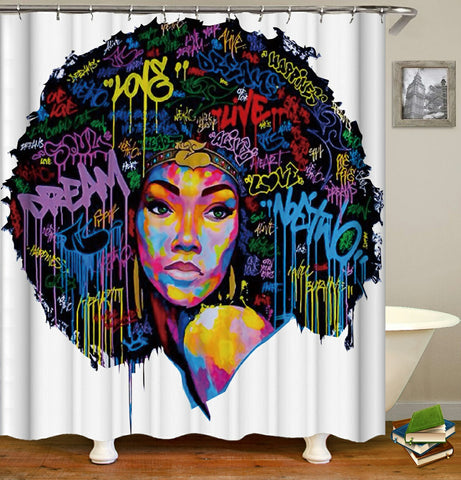 Colorful Afrocentric Queen shower curtain