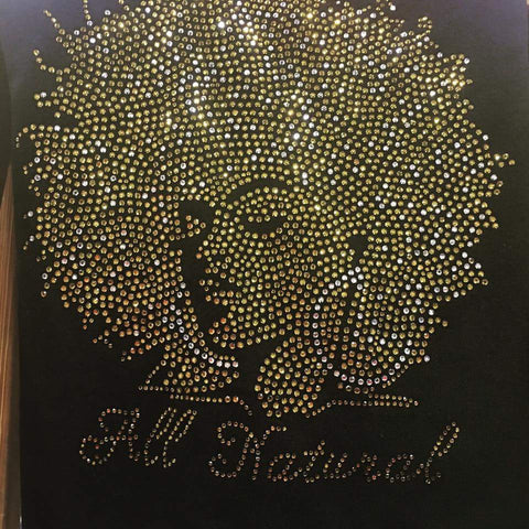 Afro Rhinestone Bling All Natural Premium Tshirt