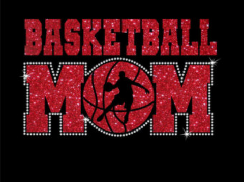 Glitter and Rhinestone basketball mom design
