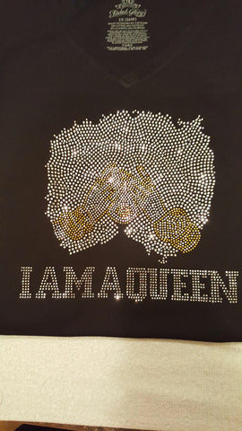 I Am A Queen Rhinestone Tshirt