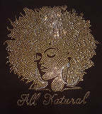 WHOLESALE PREMIUM RHINESTONE BLING IRON/HEAT PRESS ON TRANSFER - ALL NATURAL AFRO QUEEN