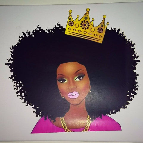 Afrocentric Queen with Crown Canvas