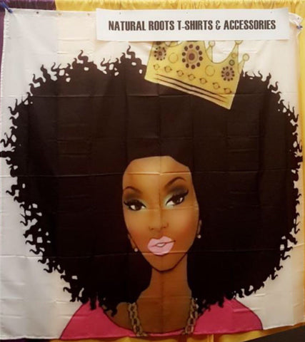 Afrocentric Queen with Crown shower curtain