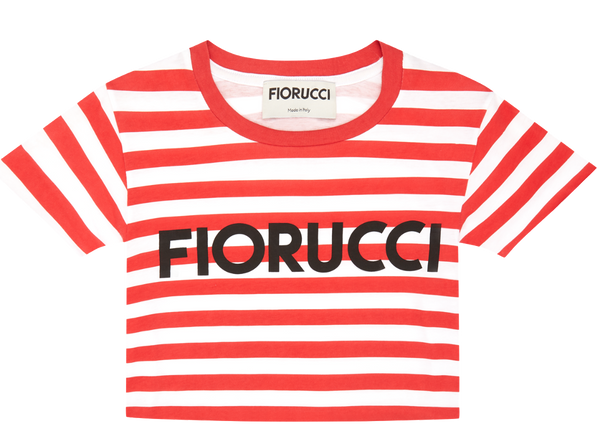Fiorucci Red and White Logo Vintage Stripe Super Crop Tee Front