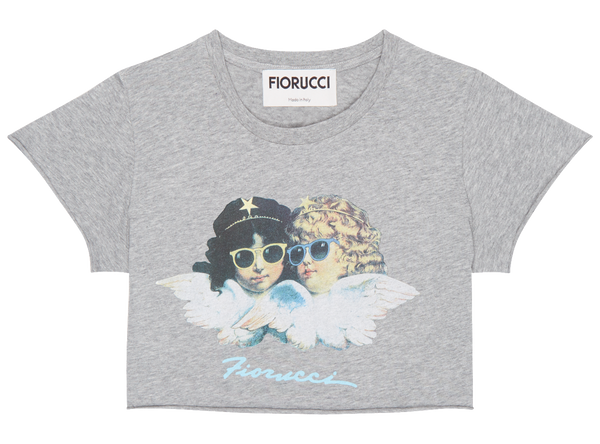 Vintage Angel Crop Tee Heather Grey