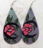Metallic Color Shifting Teardrop Earrings with a Hand Painted Flower Moon OOAK