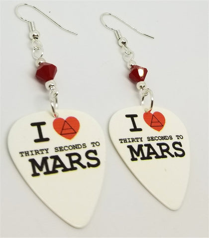 I Love 30 Seconds to Mars 30STM Guitar Pick Earrings with Red Swarovski Crystals
