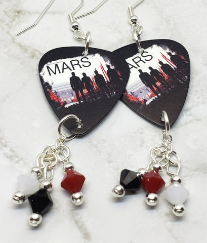 30 Seconds to Mars Guitar Pick Earrings with Swarovski Crystal Dangles