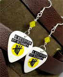 5 Seconds of Summer Guitar Pick Earrings with Yellow Opal Swarovski Crystals