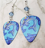 Australian Aboriginal Style Art Dolphin Guitar Pick Earrings with Aqua Swarovski Crystals