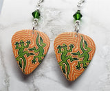 Australian Aboriginal Style Dot Art Two Lizards Guitar Pick Earrings with Green Swarovski Crystals