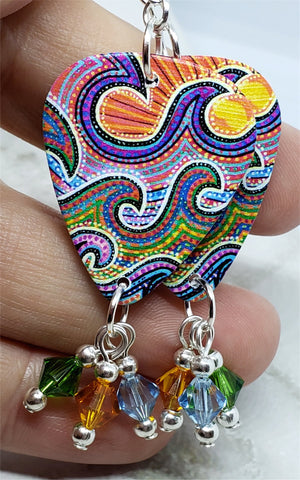 Australian Aboriginal Style Art Waves Guitar Pick Earrings with Swarovski Crystal Dangles
