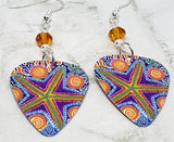 Australian Aboriginal Style Art Starfish Guitar Pick Earrings with Orange Swarovski Crystals