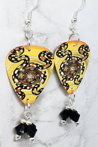 Australian Aboriginal Style Art Snakes Guitar Pick Earrings with Black Swarovski Crystal Dangles