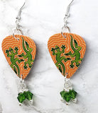 Australian Aboriginal Style Dot Art Two Lizards Guitar Pick Earrings with Green Swarovski Crystal Dangles