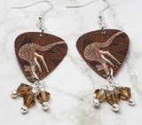 Australian Aboriginal Style Art Kangaroo Guitar Pick Earrings with Smoked Topaz Swarovski Crystal Dangles