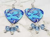 Australian Aboriginal Style Art Dolphin Guitar Pick Earrings with Aqua Swarovski Crystal Dangles