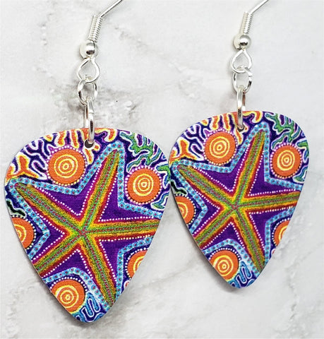 Australian Aboriginal Style Art Starfish Guitar Pick Earrings
