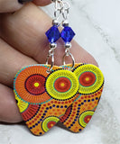 Australian Aboriginal Style Art Guitar Pick Earrings with Blue Swarovski Crystals