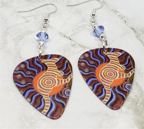 Australian Aboriginal Style Art Kangaroo Guitar Pick Earrings with Blue Swarovski Crystals