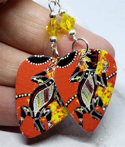 Australian Aboriginal Style Art Lizard Guitar Pick Earrings with Yellow Swarovski Crystals