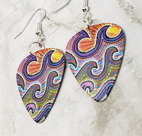 Australian Aboriginal Style Art Waves Guitar Pick Earrings
