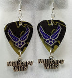 Air Force Insignia Military Wife Guitar Pick Earrings