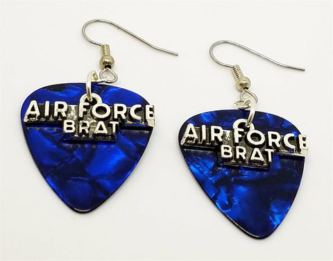 Air Force Brat Charms Guitar Pick Earrings - Pick Your Color