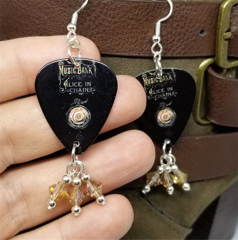 Alice in Chains Music Bank Guitar Pick Earrings with Golden Shadow Swarovski Crystal Dangles