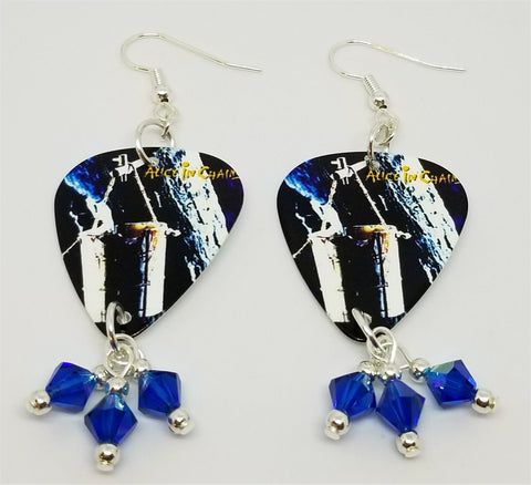 Alice in Chains Sap Guitar Pick Earrings with Capri Blue AB Swarovski Crystal Dangles