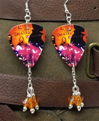 Alice in Chains Unplugged Guitar Pick Earrings with Orange Swarovski Crystal Dangles