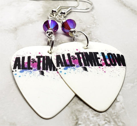 All Time Low Guitar Pick Earrings with Fuchsia AB Swarovski Crystals
