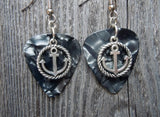 Anchor Inside a Rope Circle Charm Guitar Pick Earrings - Pick Your Color