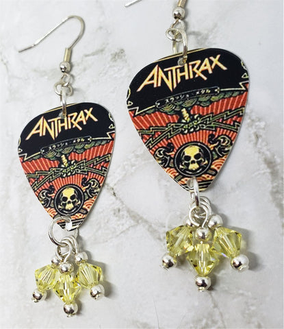 Anthrax The Greater of Two Evils Guitar Pick Earrings with Jonquil Swarovski Crystal Dangles