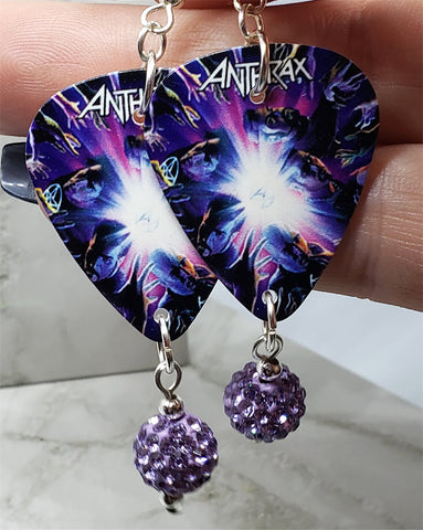 Anthrax We've Come For You All Guitar Pick Earrings with Violet Pave Bead Dangles