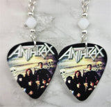 Anthrax Guitar Pick Earrings with White Swarovski Crystals