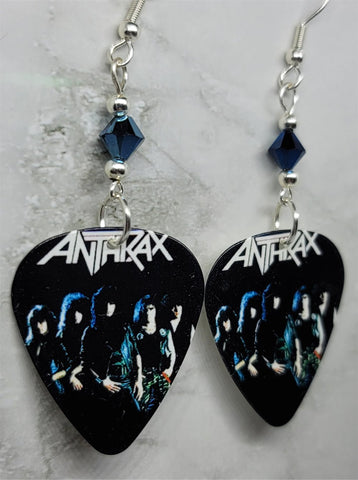 Anthrax Guitar Pick Earrings with Metallic Blue Swarovski Crystals