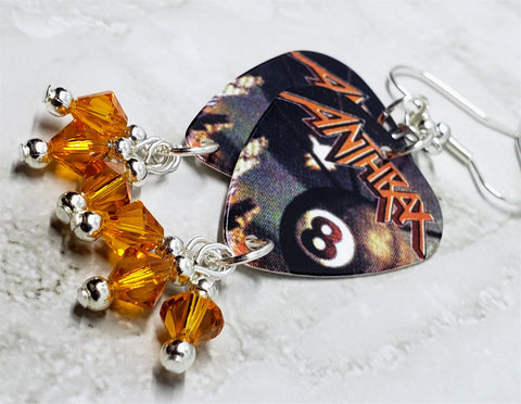 Anthrax Volume 8 Guitar Pick Earrings with Orange Swarovski Crystal Dangles