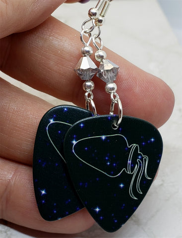 Horoscope Astrological Sign Aquarius Guitar Pick Earrings with Metallic Silver Swarovski Crystals